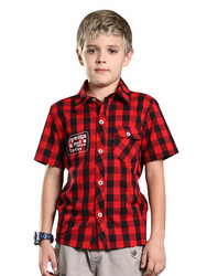 Cotton Red Plaid Comfortable Short Sleeve Shirt
