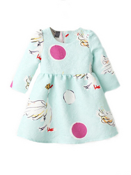 Long-sleeved Swan Pattern Cotton Girl