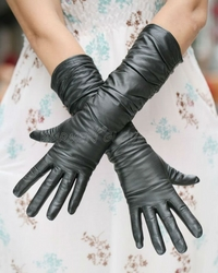 black sheepskin ladies long leather gloves