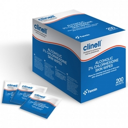 Alcoholic 2 chlorhexidine skin wipes