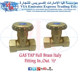 GAS TAP Full Brass Italy Fitting In.,Out. ½