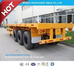 3 Axle 40FT Flatbed Truck Semi Trailer from QINGDAO WUYUE AUTOMOBILE SALES CO.,LTD
