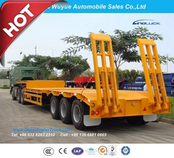 13m 3axles Lowboy Semi Truck Tailer or Lowbed Semitrailer Trailer from QINGDAO WUYUE AUTOMOBILE SALES CO.,LTD