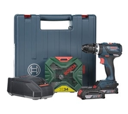 Bosch GSB18 Cordless Impact Drill + 34 pc (Blue) from AL FUTTAIM ACE