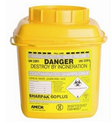 Sharps 60 plus sharps disposal bin, 6 liters