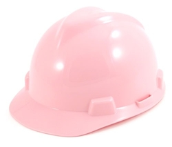 MSA V-Gard Hard Hat - Ratchet Suspension  - Pink