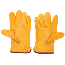 Low price yellow leather gloves