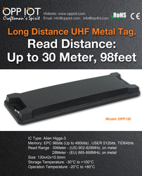 Choose OPP130 Metal Mount RFID tag for its long read range and low profile
