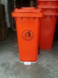 120 Ltr U Type Pedal Bin Orange Color