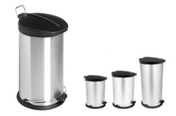 Stainless Steel Pedal Bin with Black Cover