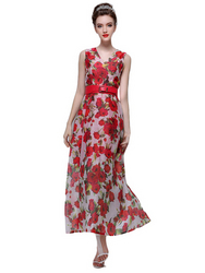 Sleeveless Floral V-Neck Maxi Dress  from FINECO GENERAL TRADING LLC UAE
