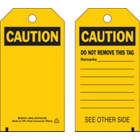 BRADY Self-Laminating Polyester Caution Tag in uae from WORLD WIDE DISTRIBUTION FZE