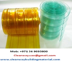 PVC RIBBED CURTAIN YELLOW / GOLD / CLEAR  COLOR IN ABUDHABI UAE from CLEAR WAY BUILDING MATERIALS TRADING