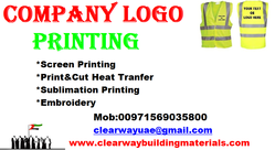 COMPANY LOGO PRINTING IN MUSSAFAH , ABUDHABI ,UAE from CLEAR WAY BUILDING MATERIALS TRADING