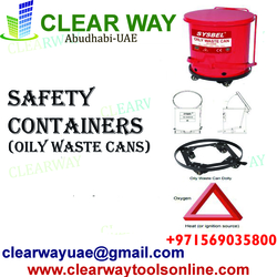 SAFETY CONTAINERS(OILY WASTE CANS) DEALER IN MUSSAFAH , ABUDHABI , UAE from CLEAR WAY BUILDING MATERIALS TRADING