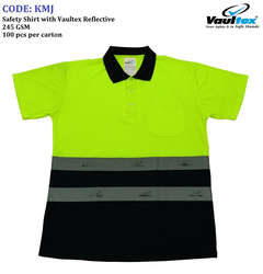 POLO T-SHIRT with VAULTEX REFLECTIVE (YELOW/BLACK)