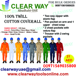 195 GSM - 100% TWILL COTTON COVERALL DEALER IN MUSSAFAH , ABUDHABI ,UAE
