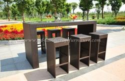 Poly rattan bar set