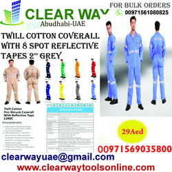 Twill Cotton Coverall With 8 Spot 2'' Grey Reflective Tapes ( PPE) Musaffah Abu Dhabi UAE