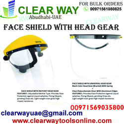 FACE SHIELD WITH HEAD GEAR DEALER IN MUSSAFAH , ABUDHABI , UAE