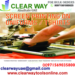 UNIFORM PRINTING & EMBROIDERY IN MUSSAFAH , ABUDHABI ,UAE from CLEAR WAY BUILDING MATERIALS TRADING