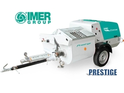 IMER PRESTIGE - For mixing and spraying plastering mortars in bags or from silo: premixed materials, gypsum base premixed materials, insulating plasters, lightened materials, self-levelling screeds. from ELMEC EQUIPMENT TRADING LLC