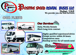 84,64,32 and 14 seater AC and Non AC Buses with driver  from POSITIVE SPEED RENTAL BUSES L.L.C