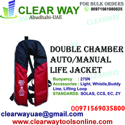 DOUBLE CHAMBER AUTO/MANUAL LIFE JACKET DEALER IN MUSSAFAH , ABUDHABI ,UAE