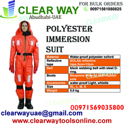 POLYESTER IMMERSION SUIT DEALER IN MUSSAFAH , ABUDHABI , UAE