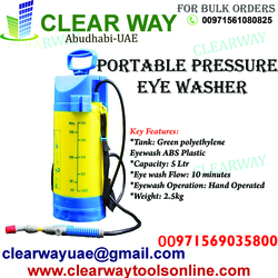 PORTABLE PRESSURE EYE WASHER DEALER IN MUSSAFAH , ABUDHABI , UAE from CLEAR WAY BUILDING MATERIALS TRADING