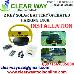 2 KEY SOLAR BATTERY OPERATED PARKING LOCK INSTALLATION IN MUSSAFAH , ABUDHABI , UAE