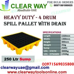 HEAVY DUTY 4 DRUM SPIL PALLET WITH DRAIN DEALER IN MUSSAFAH , ABUDHABI , UAE