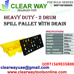HEAVY DUTY 2 DRUM SPILL PALLET WITH DRAIN DEALER IN MUSSAFAH , ABUDHABI , UAE