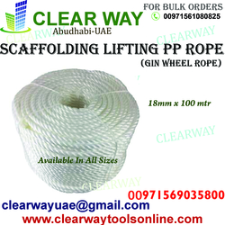 SCAFFOLDING LIFTING PP ROPE OR GIN WHEEL ROPE DEALER IN MUSSAFAH , ABUDHABI , UAE