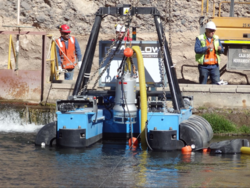 REMOTE CONTROLLED DREDGER FOR WATERFALL MAINTENANCE