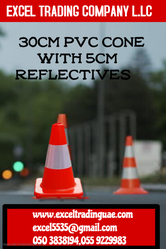 30 CM PVC CONE WITH 5CM REFLECTIVES