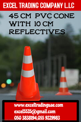 45CM PVC CONE WITH 10CM REFLECTIVES