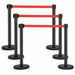 Crowd Control Black Pole Barrier with Retractable Red Belt