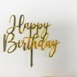 Ins Style Happy Birthday Party Decorations Acrylic Diamond Polishing Mirror Cake Topper Accessory