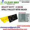 HEAVY DUTY 2 DRUM SPILL PALLET WITH DRAIN DEALER I ...